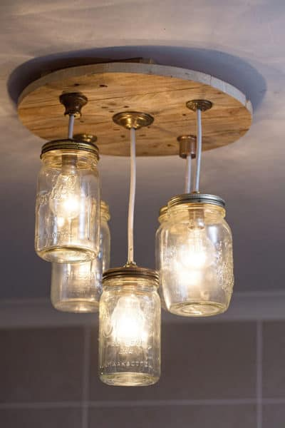 DIY Mason jar chandelier complete e