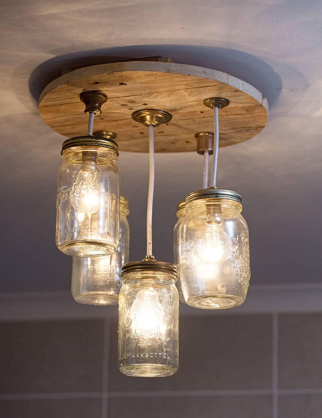 DIY Mason jar chandelier complete e1485260448835